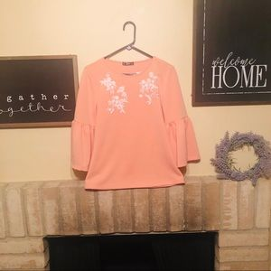 Shein Pink Bell Sleeve Top Size Med